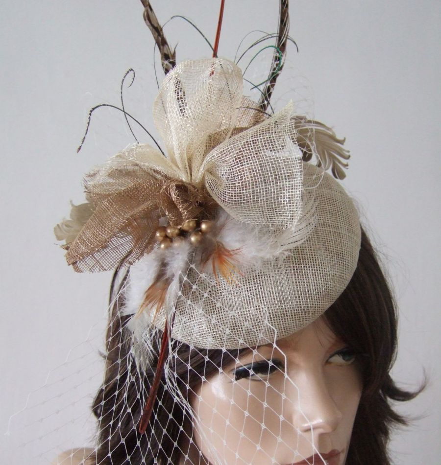 Gold, Brown, Ivory Feathered Button Fascinator Headpiece Ascot Hat of Light Woodland Tones